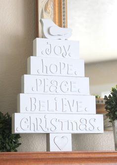 Christmas trees letters on wood blocks