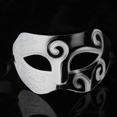 Ideal For Masquerade Ball, Mardi Gras Celebration or Halloween parties. This masks are ideal for a masquerade party, masked ball, or sexy role-play! Roman / Greek style eye-mask in black and white with raised, swirl design. Mens Masquerade Mask, Halloween Masquerade, Venetian Masquerade, Halloween Carnival, Carnival Masks, Venetian Masks, Masquerade Party, Halloween Party Costumes, Men's Costumes
