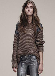 This sweater!! Raglon Color Block Loose Round Neck Sweater OASAP.com