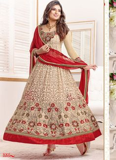 Buy Beige Semi-Stitched Georgette Party Wear Salwar Suit at lowest price Online in India, Beige Anarkali Suit online shopping with Cash on delivery and Easy returns. Item in stock, Beige color available. Salwar Kameez Online Shopping, Salwar Suits Online, Designer Salwar Suits, Designer Anarkali, Long Anarkali, Anarkali Dress, Anarkali Suits, Punjabi Suits, Lehenga