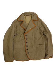 Khaki coat | Leather Trim