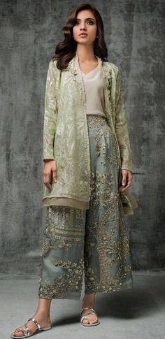 Nida Azwer - Digitally Embroidered Organza Shirt With Hand Embellished Organza Cropped Culottes Pakistani Dresses Casual, Pakistani Bridal Dresses, Pakistani Dress Design, Pakistani Party Wear, Indian Attire, Indian Wear, Indian Outfits, Indian Dresses, Stylish Dresses