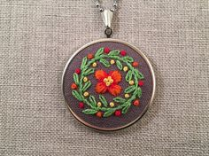 Hand Embroidered Necklace Embroidered Flower Necklace