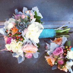 BEAUTIFUL bridal bouquet Coral blue  succulents dusty miller