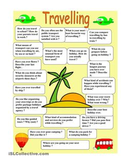 Travelling - speaking - English ESL Worksheets for distance learning and physical classrooms English Games, English Resources, English Tips, English Activities, English Words, English Lessons, English Grammar, Teaching English, Learn English