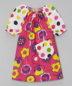 Another great find on #zulily! Fuchsia Floral Peasant Dress - Toddler & Girls #zulilyfinds