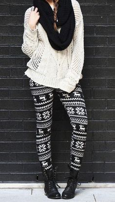 Mode Snowflake and Reindeer Leggings Reliable Lawn Mowers For Healthy Gardens Article Body: Learn ho Legging Outfits, Printed Leggings Outfit, Leggings Outfit Winter, Warm Leggings, How To Wear Leggings, Print Leggings, Leggings Fashion, Patterned Leggings Outfits, Tribal Leggings
