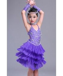 Violet purple beaded rhinestones handmade competition fringes girls latin dance dresses costumes Girls Dance Dresses, Latin Dance Dresses, Tutu, Dance Picture Poses, Dress Outfits, Girl Outfits, Little Girl Dancing, Jazz Dance Costumes, Salsa Dress