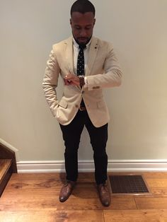 Black sportcoat with khaki pants brown shoes