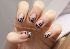neon leopard french manicure