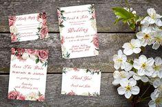 Vintage Rose Wedding Printable Suite, RSVP, Thank You, Wedding Invite, Pink and White Wedding Printable, Printable Invitations, Invitation Cards, Invites, Wedding Invitations, Printables, Sarah Johns, Vintage Roses
