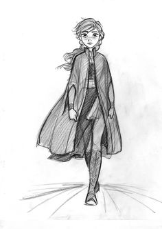 CosmoAnimato - Anna in Frozen 2 Princess Sketches, Disney Sketches, Disney Drawings, Art Sketches, Disney Style, Disney Art, Disney Movies, Frozen Disney, Disney And Dreamworks