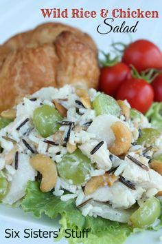 Wild Rice and Chicken Salad on sixsistersstuff.com.