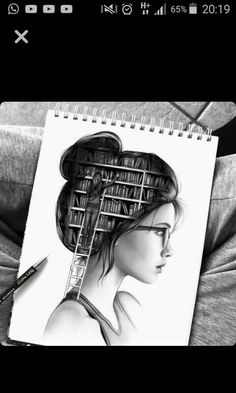 The inside of a book-lover's head. Illustration, Wow Art, Oeuvre D'art, Love Book, Drawing People, Belle Photo, Cool Drawings, Pencil Drawings, Amazing Drawings