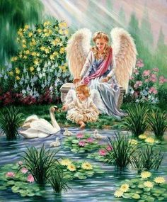 Dona Gelsinger, artist ~ lady angel ~ little girl angel ~ swan Angel Images, Angel Pictures, Images Du Christ, Yorkshire Rose, I Believe In Angels, Angels Among Us, Angels In Heaven, Guardian Angels, 5d Diamond Painting