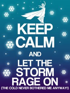 Keep Calm and Let The Storm Rage On (The Cold Never Bothered Me Anyway) <3 <3 <3
