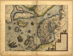 Map of Scandinavia And United Kingdom From 1500s by phraseandfable, $4.50