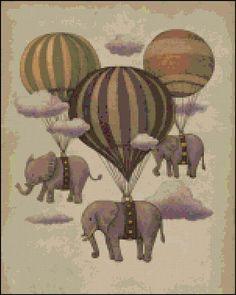 Hot Air Balloon Elephants Cross Stitch Kit Modern Cross