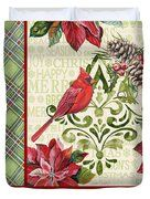 Holiday Cardinals-jp3321 Duvet Cover by Jean Plout