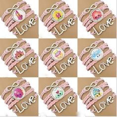 BNWT LOT of 18 Girls Pink Shopkins Infinity Bracelets for Birthday Party Favors #Shopkins