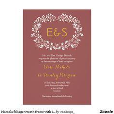 Marsala foliage wreath frame with initials wedding 5x7 paper invitation card