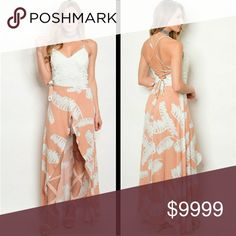 COMING SOON This beautiful piece is a Romper Maxi dress with a Ivory Lace bodice and criss cross back. Super cute and perfect for upcoming weather. More details to come!  Sizes available: S M l   LIKE TO BE NOTIFIED or COMMENT BELOW Dresses