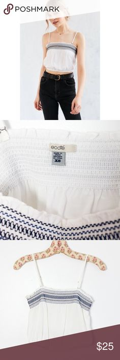 Urban Outfitters crop top Ecote by UO. Cute crop top, adjustable & removable straps. Smocked top with blue embroidered detailing. Elastic hem at bottom. Perfect for summer days! Worn once, perfect condition Urban Outfitters Tops Crop Tops