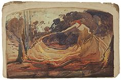 The Spirit of the bushfire 1900 watercolour and pencil  30.8 (h) x 46.7 (w) cm  signed and dated 'SID LONG/ 1900' lower right Collection: Art Gallery of Ballarat Art Gallery of Ballarat, purchased 1977