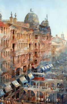 Les Aquarelles architecturaux oniriques de Varsovie par Tytus Brzozowski (7)