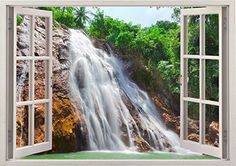 """Huge Water Waterfall Nature Scape View Home Office Kitchen Kids Nursery Room Gift 3D Unique Window Depth Style Vinyl Print Removable Wall Sticker Decal Mural Size 33.5"""" x 47"""" by Bomba-Deal Bomba-Deal http://www.amazon.com/dp/B00LICZ982/ref=cm_sw_r_pi_dp_Znmbvb10KZP2T"""
