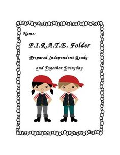 Pirate Folder Cover Page Homework Folders, Paper Folder, Pirate Theme, Cover Pages, School Days, Pirates, Classroom, Christmas Ornaments, Holiday Decor