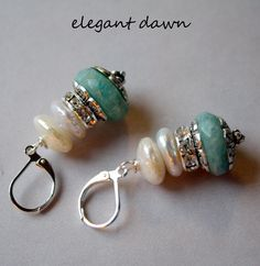SHOP SALE For Sheree elegant dawn pearl stacked amanazite earrings. $21.99, via Etsy.
