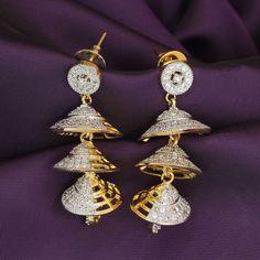 Drop Dangler Jhumka/Jhumki AD/CZ  Indian Bollywood EthnicFashion Earrings #DesaiJewellers #DropDangle