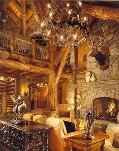 Amazing majestic log home, with soaring ceilings, built by Custom Log Homes, Victor, Montana