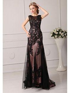 Formal Evening Dress A-line Jewel Court Train Tulle Evening Dress | LightInTheBox