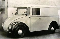 VW Type 147 Kleinlieferwagen (small van) prototype. In the early 60s, the German Postal Service asked VW to design a postal van bigger than a VW Beetle but smaller than a Kombi/microbus. VW initially based the design on the Beetle Cabriolet (pictured above) due to its strength but later switched to the Karmann Ghia (Type 14) because of its greater width.