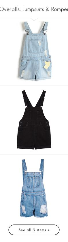 """""""Overalls, Jumpsuits & Romper"""" by lysianna ❤ liked on Polyvore featuring overalls, waystowear, jumpsuits, rompers, shorts, bottoms, playsuit romper, bib overalls, blue overalls and light blue romper"""
