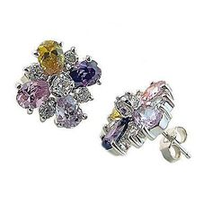 Spring Flower Earrings .925 Sterling Silver Cubic Zirconia Floral Fashion e641s
