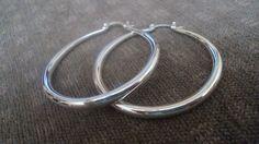 For sale at Retrophoria.com, $8.99 - Vintage sterling silver large hoop earrings, never worn, stamped