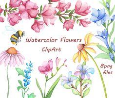 Watercolor Flowers Clipart, Digital Clipart, watercolor clipart, watercolor clip…