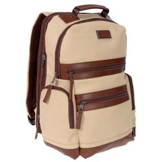 ff51a7e117 RENWICK Cream 15.5 Canvas Backpack Genuine Leather Trim Laptop Book bag  school  fashion  clothing