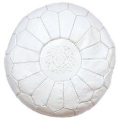 moroccan pouf, white leather - From Baba Souk