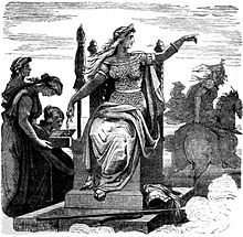 """In Germanic mythology, Fulla (Old Norse, possibly """"bountiful""""[1]) or Volla (Old High German) is a goddess. In Norse mythology, Fulla is described as wearing a golden snood and as tending to the ashen box and the footwear owned by the goddess Frigg, and, in addition, Frigg confides in Fulla her secrets."""