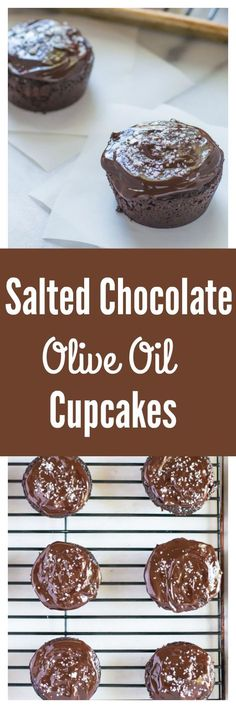 Salted Chocolate Olive Oil Cupcakes. The most moist and decadent chocolate cupcakes you'll ever bake, and they are made with healthy ingredients!