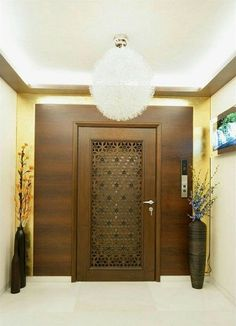 Residence in Mumbai - decoration - Door Design Main Entrance Door Design, Room Door Design, Entrance Decor, Home Entrance Decor, Entrance Design, Door Design Modern, Grill Door Design, Pooja Room Door Design, Front Door Design
