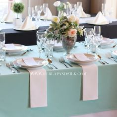 60 x 126 inches Aqua Spa Rectangular Tablecloths, Aqua Spa Rectangle Table Overlays Fall Table Settings, Elegant Table Settings, Wedding Table Settings, Place Settings, Wedding Tablecloths, Wedding Table Linens, 2018 Wedding Trends, Bridesmaid Luncheon, Table Setting Inspiration