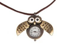 {Antiqued Gold Owl Pocket Watch Necklace} adorable!