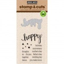 Create cards throughout the year for those you love with the Happy Die and Clear Acrylic Stamp Set by Hero Arts. This set is made in the USA and includes 18 Hero Arts, Mother's Day Thoughts, Scrapbook Supplies, Scrapbooking, Craft Cabinet, Shops, Sending Hugs, Simon Says Stamp, Love Messages