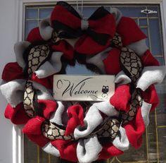 Spring Wreath - Summer Burlap Wreath - Red,Gray  Burlap Wreaths, Wreath for All Year, Welcome Wreath, Black Ribbon