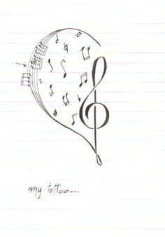 music tattoo clef heart